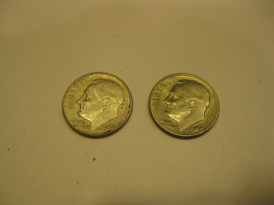 image of two dimes, 1964 and 1965